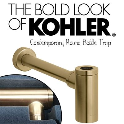 New  Kohler 9033-BGD Contemporary Round Bottle Trap,