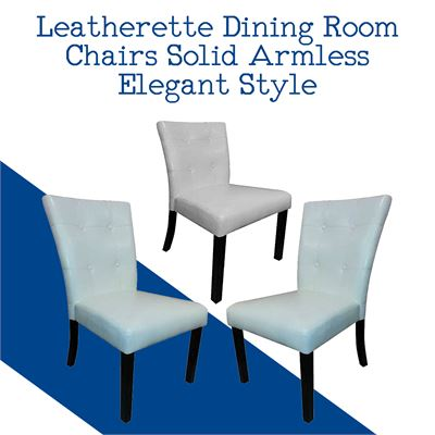 NEW Leatherette Dining Room Chairs Solid Armless Elegant Style