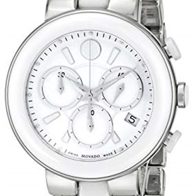 1b28c5cde0e0 NEW Movado Women s 0606758 Cerena Stainless Steel White Ceramic Case and  Bracelet White Chrono Dial Watch