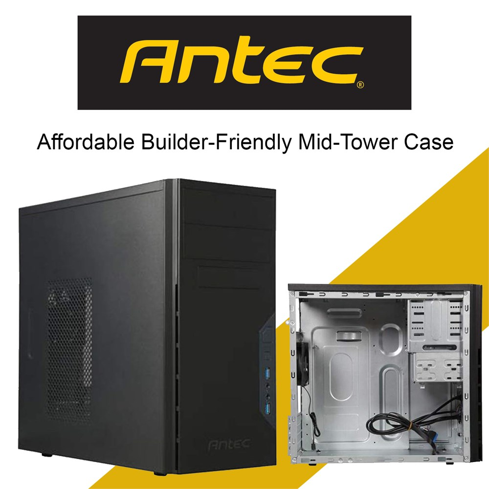 Antec Affordable Builder-Friendly Mid-Tower Case with 2 X USB 3.0 Ports Audio