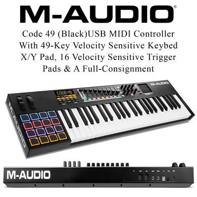 NEW M-Audio Code 49 (Black)USB MIDI Controller With 49-Key Velocity Sensitive Keybed, X/Y Pad, 16 Velocity Sensitive Trigger Pads & A Full-Consignment