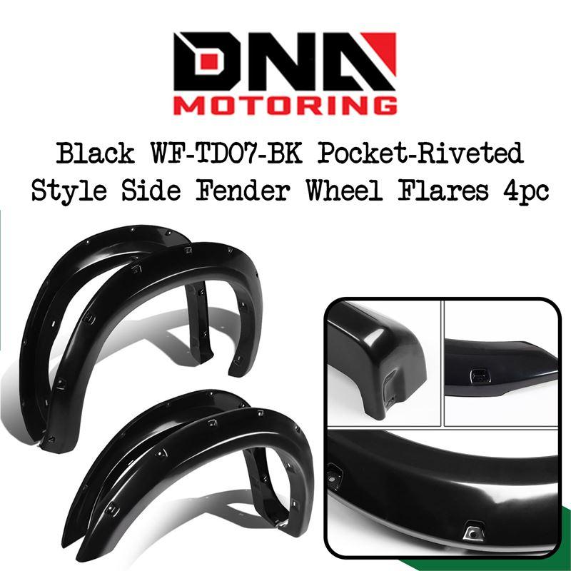 for 07-13 Tundra DNA MOTORING Black WF-TD07-BK Pocket-Riveted Style Side Fender Wheel Flares 4pc