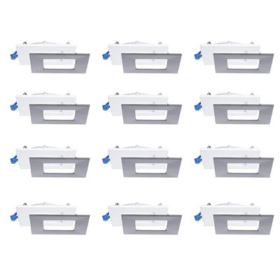 "NEW Nadair 12 Pack 4"" Ic Rated LED Dimmable Ultra Slim Recessed Light with Junction Box, 12W, 900 Lumens, 3000K Warm White, Square, Brushed Nickel"