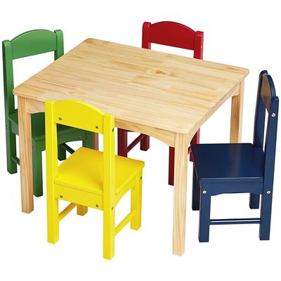 NEW AmazonBasics Kids Wood Table and 4 Chair Set, Natural Table, Assorted Color Chairs