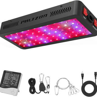NEW Phlizon 600W LED Plant Grow Light,w/Thermometer Humidity Monitor,Adjustable Rope,Light for Indoor Plants, 600W(10W LEDs 60Pcs)