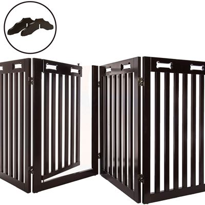 "NEW Arf Pets Free Standing Wood Dog Gate with Walk Through Door, Expands Up to 80"" Wide, 31.5"" High - Bonus Set of Foot Supporters Included"
