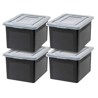 NEW IRIS USA, Inc. R-FB-21E Letter and Legal Size File Box, Black, 4 Pack