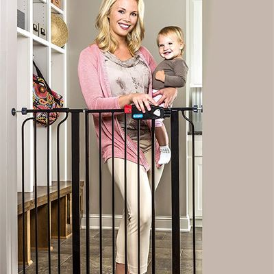 NEW Regalo Easy Step Extra Tall Walk Thru Gate, Bonus Kit, Includes 4-Inch Extension Kit, 1 Pack of Pressure Mount Kit