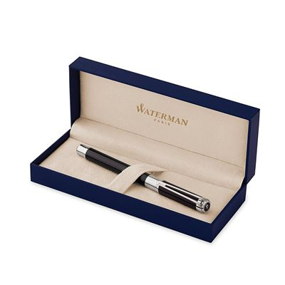 NEW Waterman Perspective Fountain Pen Black with Chrome/silver Trim Fine nib (S0830660)