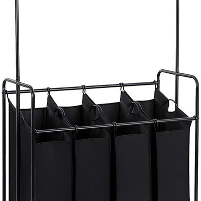 NEW SONGMICS 4-Bag Rolling Laundry Sorter with Hanging Bar, Heavy-Duty with Wheels, Black URLS44B