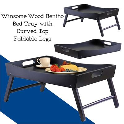 NEW Winsome Wood Benito Bed Tray with Curved Top, Foldable Legs