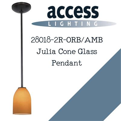 NEW Access Lighting 28018-2R-ORB/AMB Julia Cone Glass Pendant