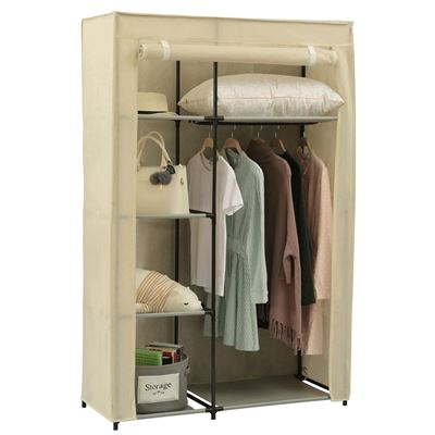 NEW Homebi Portable Wardrobe Clothes Closet Organizer Non-woven Fabric Storage Rack Unit with Six Shelves and One Hanging Rod in Beige