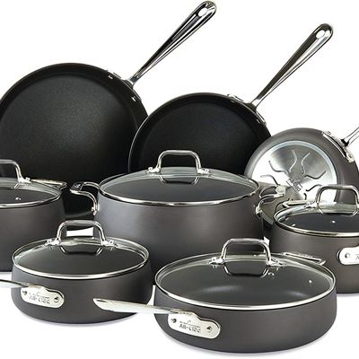 NEW All-Clad E785SB64 HA1 Hard Anodized Nonstick Cookware Set, Pots and Pans Set, 13 Piece, Black
