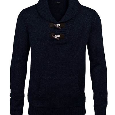 NEW COOFANDY Men's Knitted Slim Fit Shawl Collar Sweater Long Sleeve Pullover, Black, X-Large