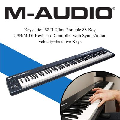 NEW M-Audio Keystation 88 II, Ultra-Portable 88-Key USB/MIDI Keyboard Controller with Synth-Action Velocity-Sensitive Keys
