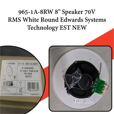 "NEW 965-1A-8RW 8"" Speaker 70V RMS White Round Edwards Systems Technology EST NEW"