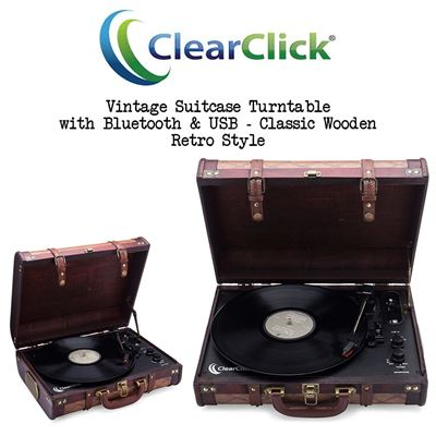 NEW ClearClick Vintage Suitcase Turntable with Bluetooth & USB - Classic Wooden Retro Style