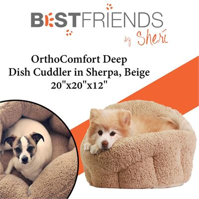 "USED Best Friends by Sheri OrthoComfort Deep Dish Cuddler in Sherpa, Beige, 20""x20""x12"""