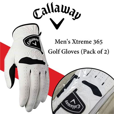 NEW Callaway Men's Xtreme 365 Golf Gloves (Pack of 2)