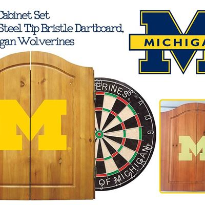 NEW Imperial Officially Licensed NCAA Merchandise: Dart Cabinet Set with Steel Tip Bristle Dartboard, Michigan Wolverines