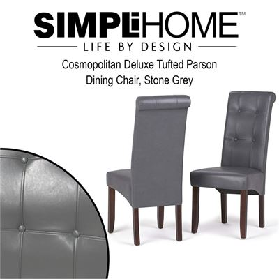 NEW Simpli Home Cosmopolitan Deluxe Tufted Parson Dining Chair, Stone Grey (Set of 2)
