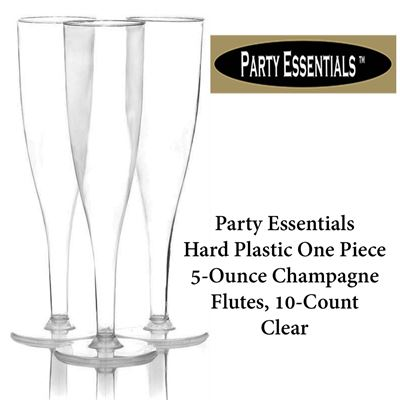 NEW Party Essentials Hard Plastic One Piece 5-Ounce Champagne Flutes, 10-Count, Clear