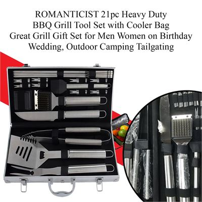 NEW ROMANTICIST 21pc Heavy Duty BBQ Grill Tool Set with Cooler Bag, Great Grill Gift Set for Men Women on Birthday Wedding, Outdoor Camping Tailgating