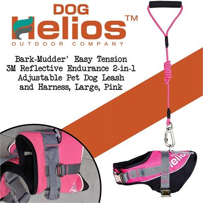 NEW DOGHELIOS 'Bark-Mudder' Easy Tension 3M Reflective Endurance 2-in-1 Adjustable Pet Dog Leash and Harness, Large, Pink
