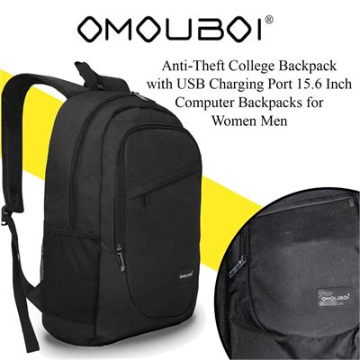 Laptop Backpack OMOUBOI Anti-Theft College Backpack with USB Charging Port 15.6 Inch Computer Backpacks for Women Men