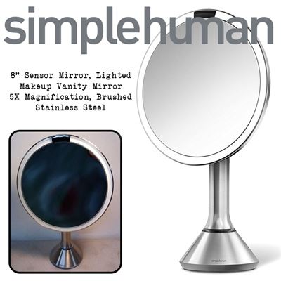 "simplehuman 8"" Sensor Mirror, Lighted Makeup Vanity Mirror, 5X Magnification, Brushed Stainless Steel"