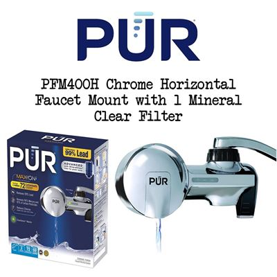 NEW PUR PFM400H Chrome Horizontal Faucet Mount with 1 Mineral Clear Filter