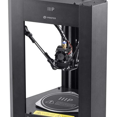 NEW Monoprice Mini Delta 3D Printer with Heated,110 x 110 x 120 mm,Build Plate,Full Assembled for ABS & PLA + Free MicroSD Card Preloaded w/Printable