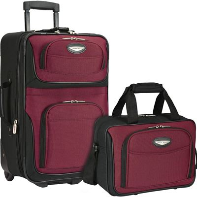 NEW Traveler's Choice Travel Select Amsterdam Two-Piece Carry-On Luggage Set, Burgundy, One Size