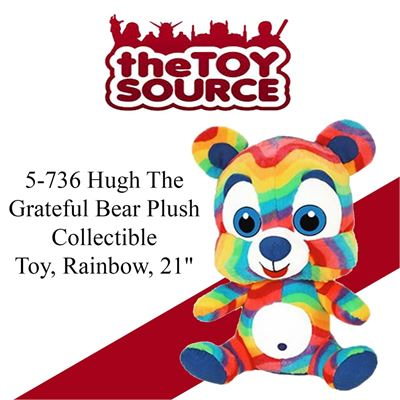 NEW ToySource 5-736 Hugh The Grateful Bear Plush Collectible Toy, Rainbow, 21""