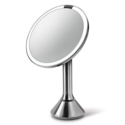 "NEW simplehuman Sensor Lighted Makeup Vanity Mirror 8"" Round, 5X Magnification, Stainless Steel, Rechargeable and Cordless"