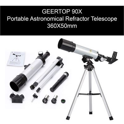 NEW GEERTOP 90X Portable Astronomical Refractor Telescope, 360X50mm, For Kids Sky Star Gazing and Birds Watching