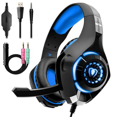 NEW Beexcellent Gaming Headset for PS4 Xbox One, Gaming Headphones w/ Noise Reduction Mic Volume Control LED Light for PC Laptop Tablet Smart Phone