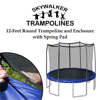 NEW Skywalker Trampolines 12-Feet Round Trampoline and Enclosure with Spring Pad