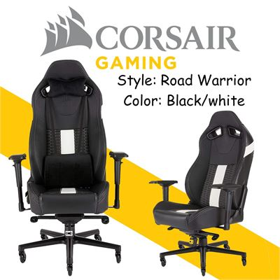 NEW CORSAIR T2 ROAD WARRIOR Gaming Chair, Comfort Design - Wide Seat High-Back, Adjustable Height and Tilt, Headrest and Lumbar Support, CF-9010007-WW