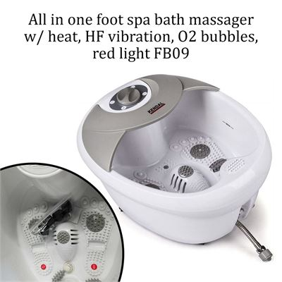 NEW All in one foot spa bath massager w/ heat, HF vibration, O2 bubbles, red light FB09