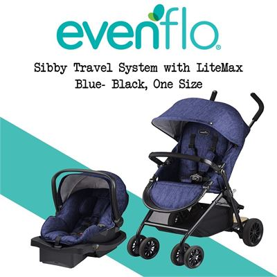 NEW Evenflo Sibby Travel System with LiteMax, Blue- Black, One Size