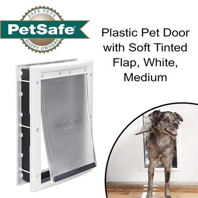 NEW PetSafe Plastic Pet Door with Soft Tinted Flap, White, Medium