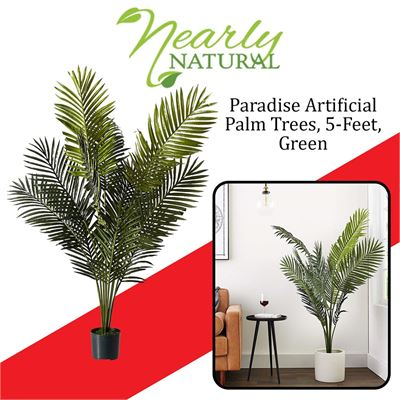 NEW Nearly Natural 5259 Paradise Artificial Palm Trees, 5-Feet, Green
