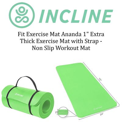 "NEW Incline Fit Exercise Mat Ananda 1"" Extra Thick Exercise Mat with Strap - Non Slip Workout Mat for Yoga, Pilates, Stretching, Meditation, Exercises"