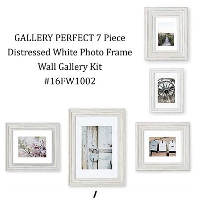 NEW GALLERY PERFECT 7 Piece Distressed White Photo Frame Wall Gallery Kit #16FW1002