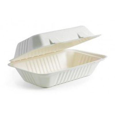 "NEW Eco-Packaging 9"" x 6"" x 3"" Compostable Sugarcane (Bagasse) Clamshell Takeout Food Containers, Tree Free, Case of 200"