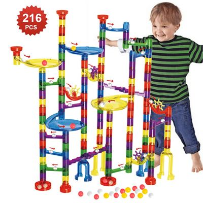 NEW WTOR Toys Marble Run 216Pcs Tall Maze Learning Adventure Marbles Race Game Learning Railway Construction Maze Boys Girls Toys Game