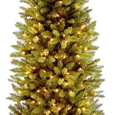 New National Tree 6.5 Foot Kingswood Fir Pencil Tree with 250 Clear Lights, Hinged (KW7-300-65), Size : 6.5-FEET