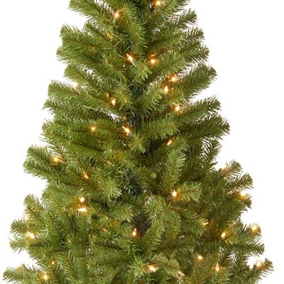 New National Tree 4 Foot Canadian Fir Grande Wrapped Tree with 100 Clear Lights, CSA (CFG7-304C-40)